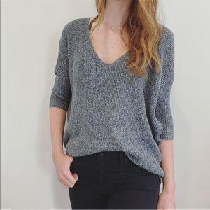 Express Gray V Neck Slouchy Sweater